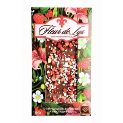"Russian Chocolate ""Fleur de Lys with strawberries and meringues"". 100gm."
