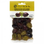 Iliada Greek Premium Mixed Whole Olives with Herbs. 100gm.